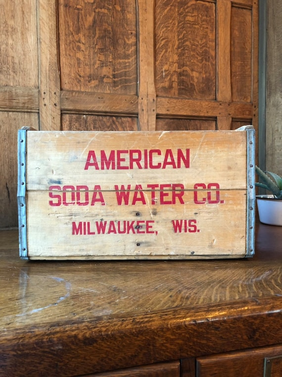 Vintage Wood Crate, American Soda Water Co, Milwaukee Wisconsin, Rustic Industrial Storage