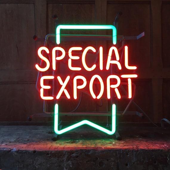 Vintage Beer Neon Sign, Special Export Neon Sign, Vintage Bar Decor, Office Decor