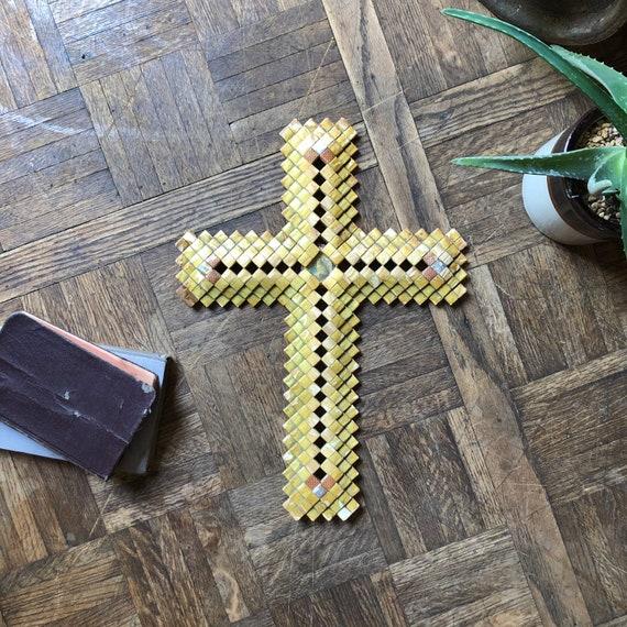 Vintage Prison Art Crucifix Made From Camel Cigarette Packs, Vintage Outsider Art, Religious Folk Art Cross, Antique Effigy