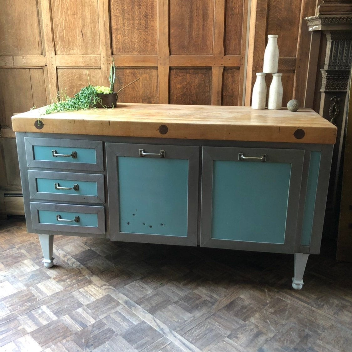 Antique Butcher Block Island With Drawers Bakers Table