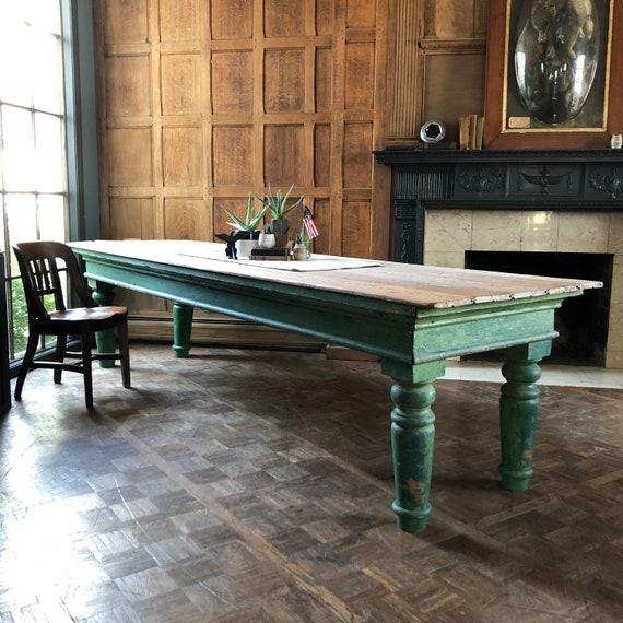 LARGE 10 FT Farm Table, Antique Farmhouse Table, Large Antique Table, Large Dining Table, Banquet Table, Head Table