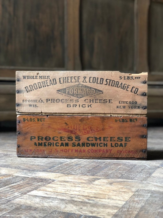 Pair Of Vintage Cheese Boxes, Antique Cheese Boxes, Chicago New York Wisconsin Wood American Cheese Boxes, Rustic Wooden Cheese Box Storage