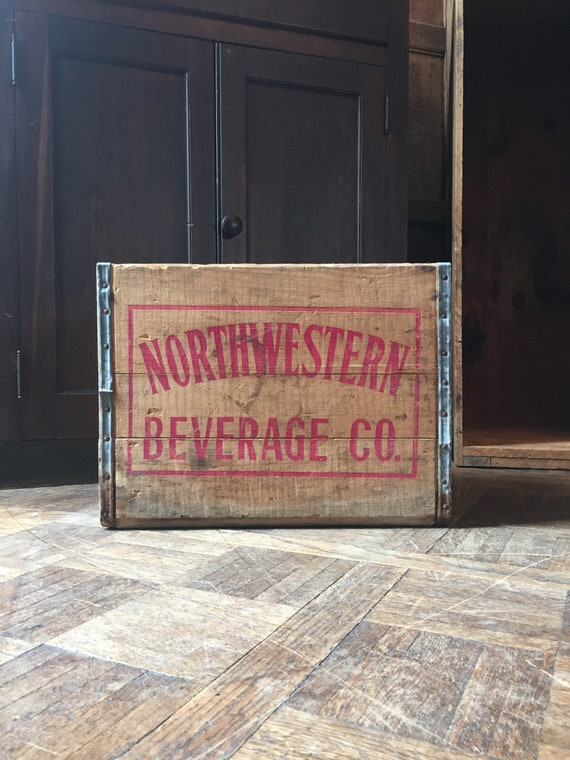 Vintage Wood Crate, Northwestern Beverage Co. Wooden Box Crate Storage, Rustic Industrial Decor, Vinyl Record Storage