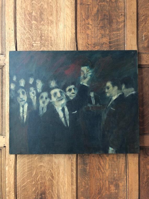 Vintage Oil Painting On Canvas, Night Scene, Bar Decor, Dark Oil Painting, Oil On Canvas, Black And Gray Wall Art