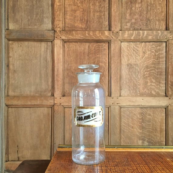 LARGE Antique Apothecary Jar, Reverse Painted Glass Label, Glass Stopper, Vintage Home Decor, Medical Decor, Antique Pharmacy
