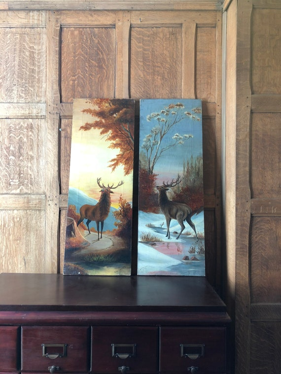 Pair of Antique Oil Paintings On Canvas, Deer Buck Outdoor Scene, Mountain Wall Art, Cabin Lodge Decor, Hunting Decor