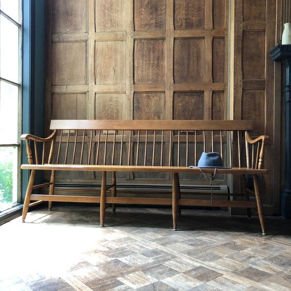 Antique Farmhouse Bench, Primitive Spindle Back Bench, Vintage Entryway Bench