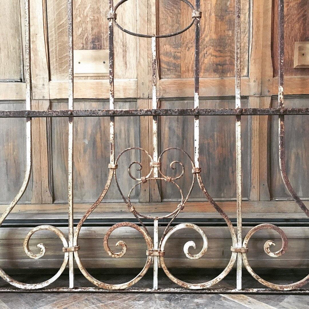 Antique Wrought Iron Gates, PAIR of Iron Gates, Rustic Industrial Wall Decor, Metal Garden Decor