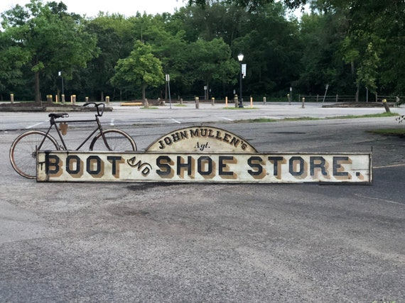 LARGE Antique Trade Sign, John Mullen's Boot and Shoe Store Sign, 15 FT Long Antique Building Sign, Antique Hand Painted Sign