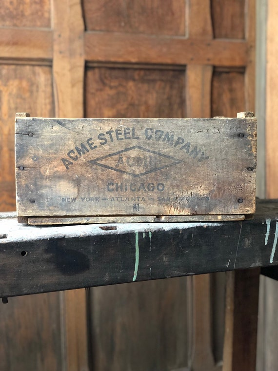 Wood Crate, Vintage ACME Steel Company Chicago, Rustic Industrial Storage Decor, Vintage Chicago