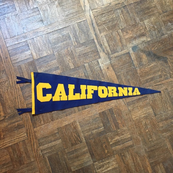 Large Vintage California Wool Felt Pennant Flag, Blue And Gold Collegiate Pennant, University Of California Golden Bears