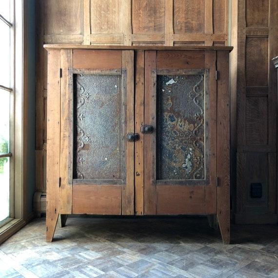 Primitive Farmhouse Cabinet, Antique Wood Cupboard With Tin, Primitive Wood Hutch, Antique Pie Safe Cabinet, Rustic Storage Cabinet
