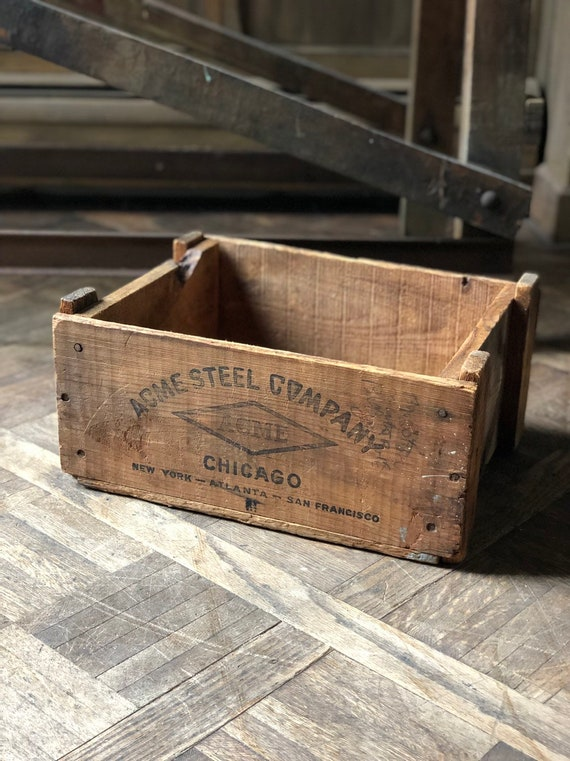 Vintage Wood Crate, ACME Steel Company, Rustic Industrial Storage Decor, Chicago Decor