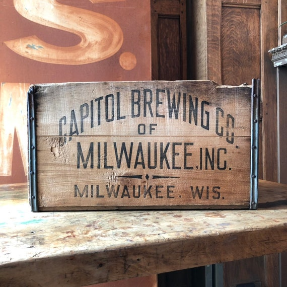 Vintage Beer Crate, Capitol Brewing Co, Milwaukee Wisconsin Wood Crate, Milwaukee Decor, Decorative Storage, Breweria