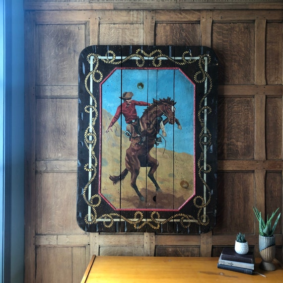 LARGE Vintage Cowboy Painting, 1970S Cowboy on Horseback Painting, Kitchy Western Decor, Nursery Decor