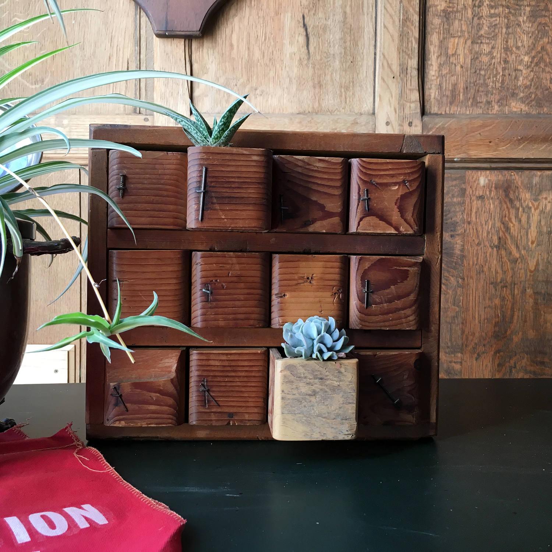 Antique Parts Cabinet, Handmade Cubby, Desktop Organization