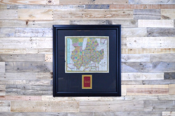 Antique Map, Framed, 1839 Mitchell's Pocket Map Of Ohio, Indiana, Illinois, Michigan & Wisconsin Territory