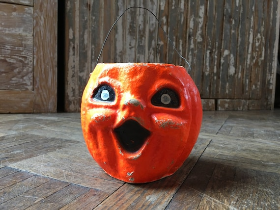 Antique Paper Mache Pumpkin, Vintage Halloween Decor, 1930s Paper Mache Pumpkin Candy Holder, Jack O Lantern