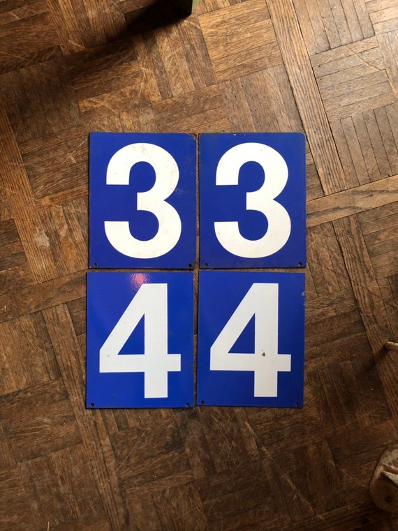 Vintage Gas Station Number, Double Sided Blue And White Sign Number, Lucky Number 3, Lucky Number 4, Number Decor, Number Wall Decor