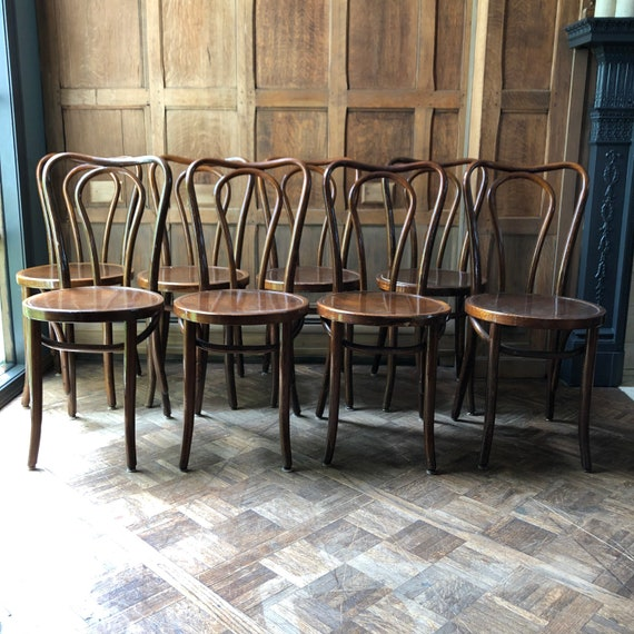 Antique Bentwood Chairs, Set of 8 Chairs, Bent Wood Dining Chair Set, Vintage Thonet Style Chairs, Primitive Chairs