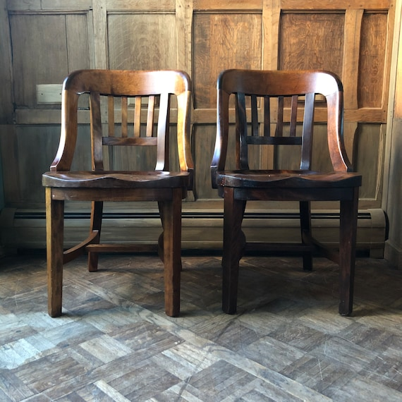 PAIR Of Antique Maple Chairs, Jury Chairs, Vintage Bankers Chair, Antique Library Chairs, Pair Of Wood Desk Chairs