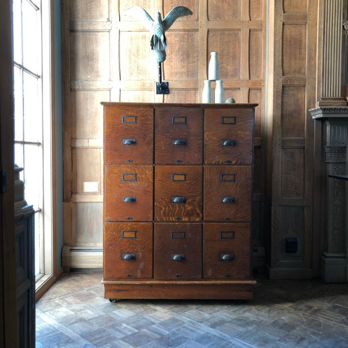 Antique Oak Apothecary Cabinet, Large File Storage Cabinet