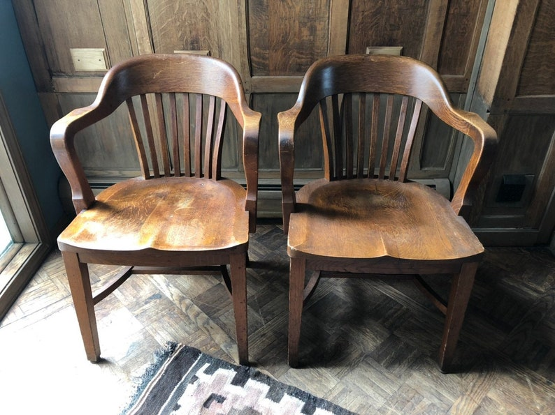 Peachy Pair Of Oak Bankers Chairs Vintage Library Chairs Antique Oak Desk Chair Pair Of Chairs Dailytribune Chair Design For Home Dailytribuneorg