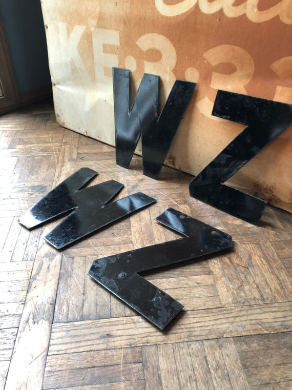 "Vintage Letter, 10"" Porcelain Marquee Letters, Letter W, Letter Z, Vintage Initial, Sign Letter, Initial Decor, Letter Wall Decor"