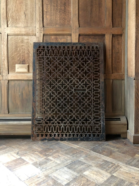"HUGE Antique Cast Iron Grate, 39"" Cast iron Radiator Grate Cover, Cast Iron Sign, Industrial Wall Decor, Decorative Iron"