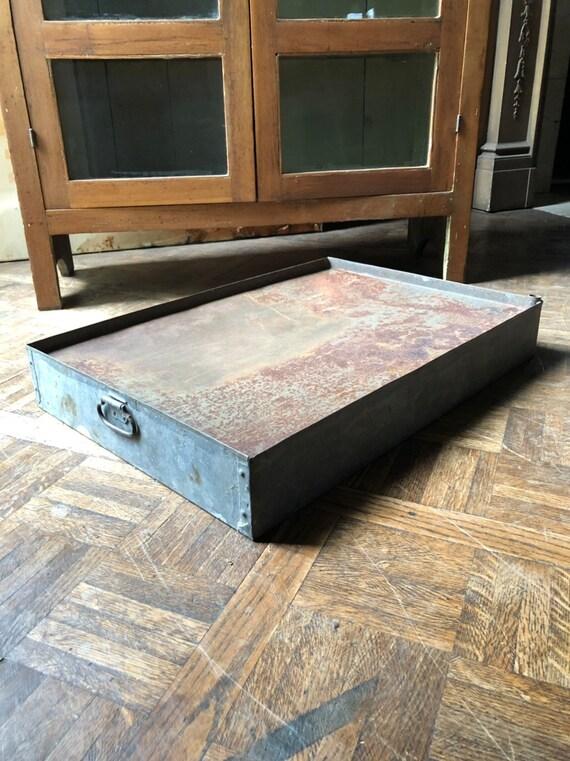 Large Vintage Galvanized Tray, Antique Heating/Cooling Tray, Industrial Metal Tray, Industrial Metal Display, Galvanized Farmhouse Decor
