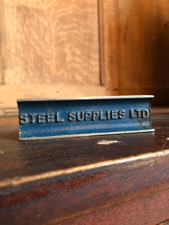 Antique Paperweight, Antique Advertising, Steel Supplies LTD, Antique I-Beam, Industrial Decor, Office Decor