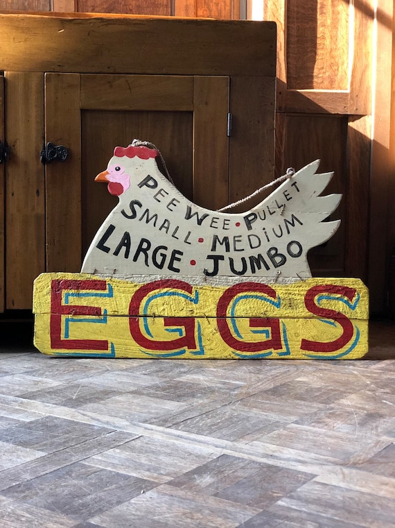 Vintage EGGS sign, Hand Painted Farm Sign, Chicken Decor, Kitchen Sign, Primitive Decor, Eggs For Sale Sign, Rustic Farmhouse Decor