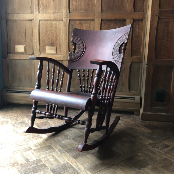 Antique Rocking Chair, Pressed Back Wood Victorian Rocking Chair, Victorian Furniture
