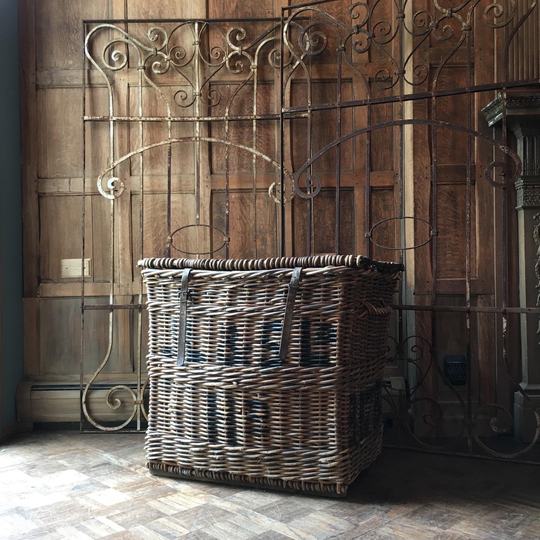 Large Antique Wicker Textile Mill Basket Linen Shipping Basket Large Wicker Hamper Basket Blanket Basket European Linen Basket