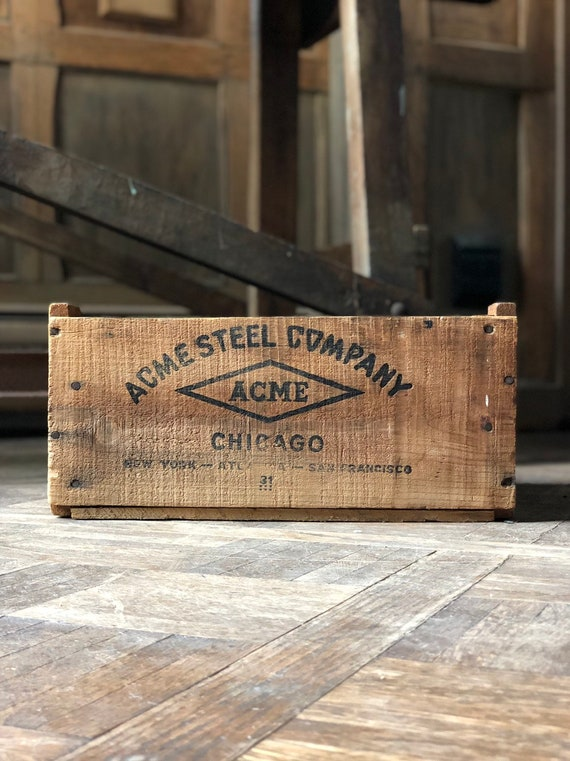 Vintage Crate, ACME Steel Chicago Wood Crate, Rustic Industrial Storage Decor