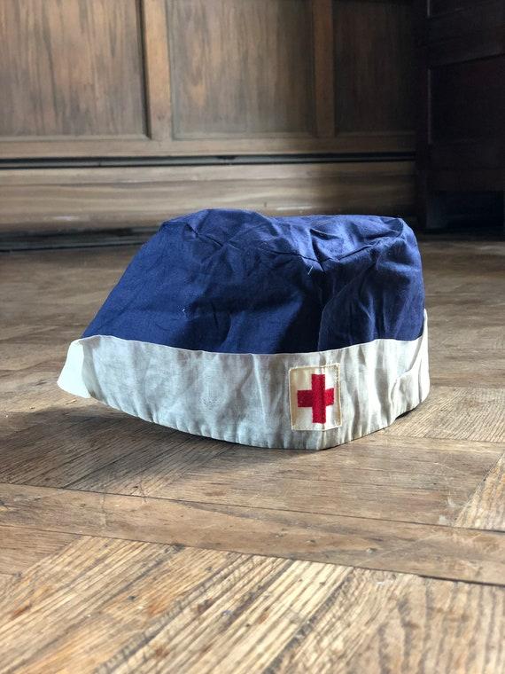 Antique WWI US Nurse Cap, World War One USA Nurse Hat, Military Nurse Bonnet, Military Collectible, Antique Red Cross