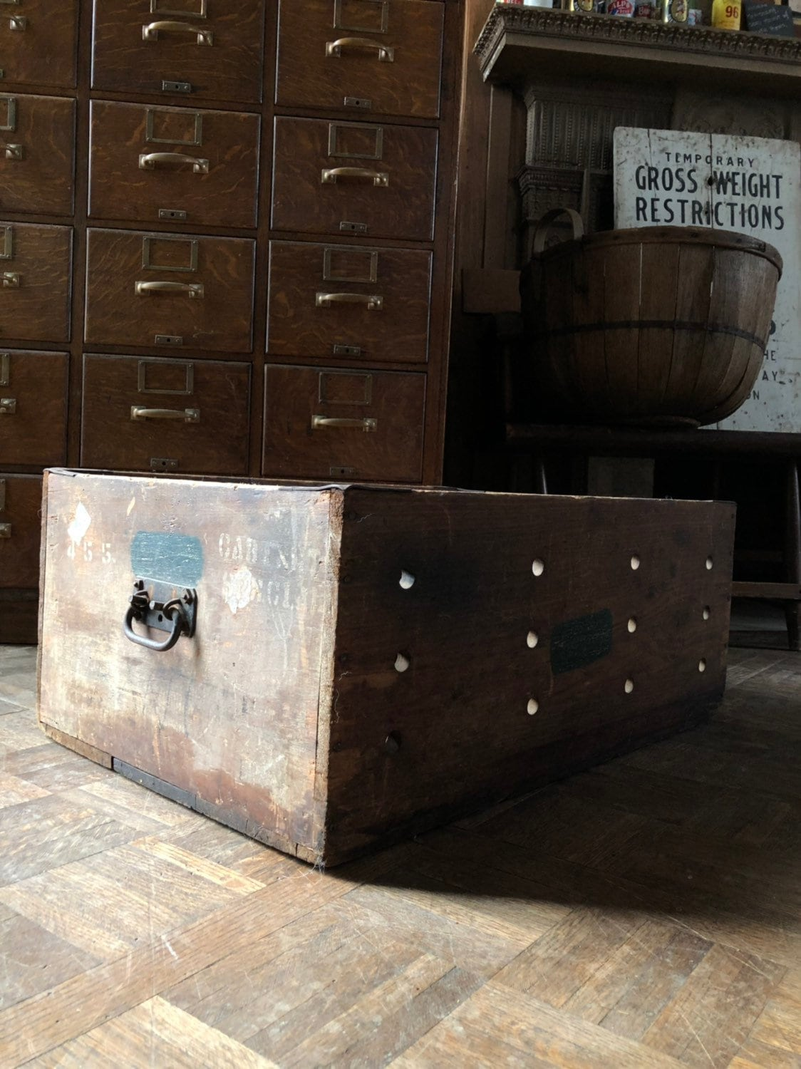 Large Wood Shipping Crate, Rustic Industrial Wood Storage ...