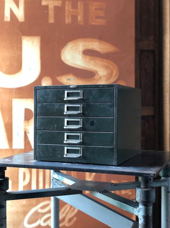 Vintage Metal Drawer Unit, Cole Steel Metal Parts Bin, Military Green Metal Drawers, Desk Top Decor, Office Storage