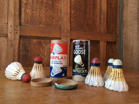 Vintage Shuttlecocks, Badminton Birdies, 5 Real Feather Shuttlecocks, Sports Decor, Badminton Gift, Blue Goose, Fairplay