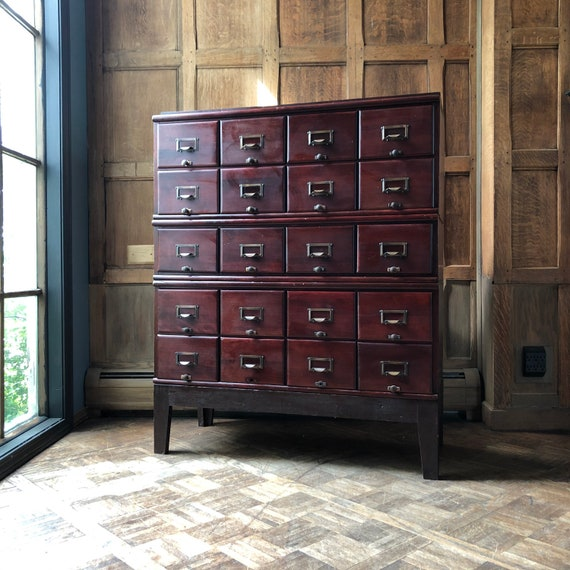 LARGE Antique Card Catalog, Maple and Brass Card File, Storage Cabinet, Vintage Drawer Unit, Apothecary Cabinet