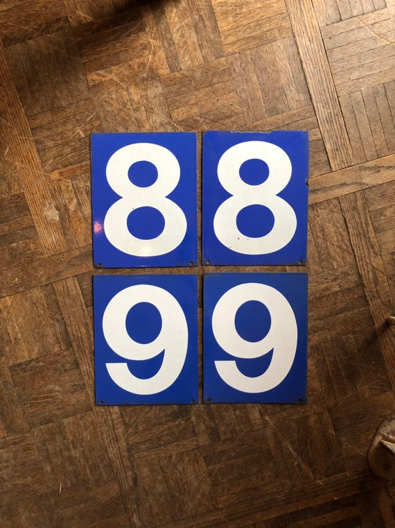 Vintage Gas Station Number, Double Sided Blue And White Sign Number, Lucky Number 8, Lucky Number 9, Number Decor, Number Wall Decor