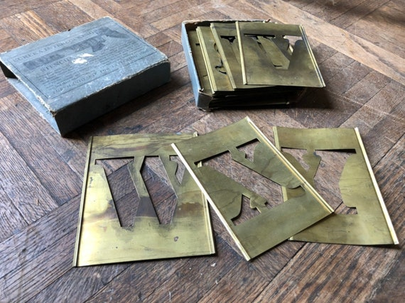 Antique Brass Stencil Set, Large Antique Stencil For Wood Signs, Large Stencil Letters, Eureka Interlocking Stencils, Stencil For Painting