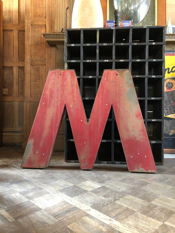 LARGE Letter M Sign, Letter M Wall Decor, Vintage M Marquee Sign, Large Metal M Wall Hanging, Antique M