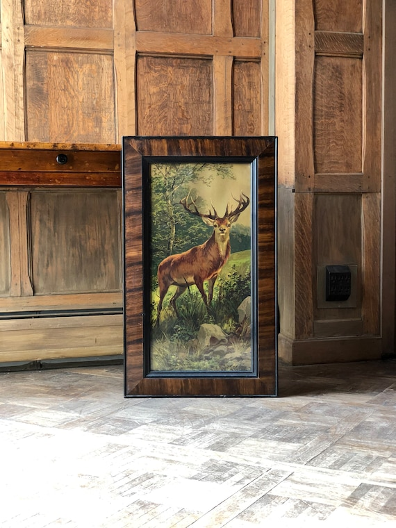 Antique Framed Stag Print, Large Antique Deer Buck Outdoor Print, Cabin Decor, Deer Decor