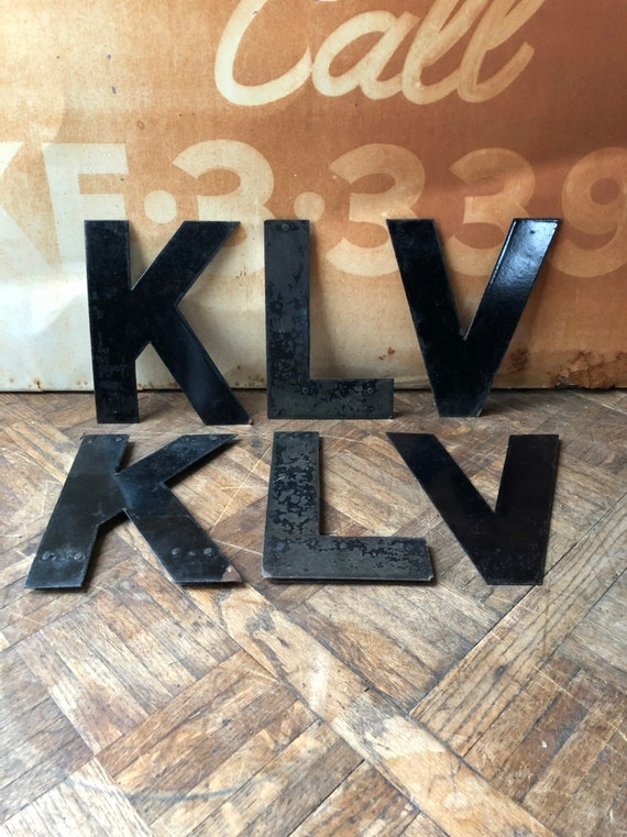 "Vintage Letter, 10"" Porcelain Marquee Letters, Letter K, Letter L, Letter V, Vintage Initial, Sign Letter, Initial Decor, Letter Wall Decor"