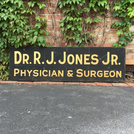 Antique Trade Sign, Hand Made Wood Physician & Surgeon Reflective Schmaltz Sand Paint Sign, Gifts For Surgeons, Surgeon Gift