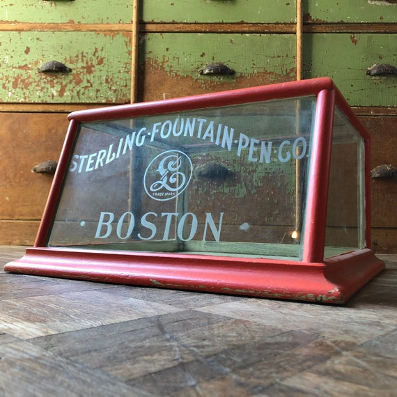 Antique Hardware Store Counter Top Display, Sterling Fountain Pen CO Glass Display Case, Boston, Small Antique Display Case