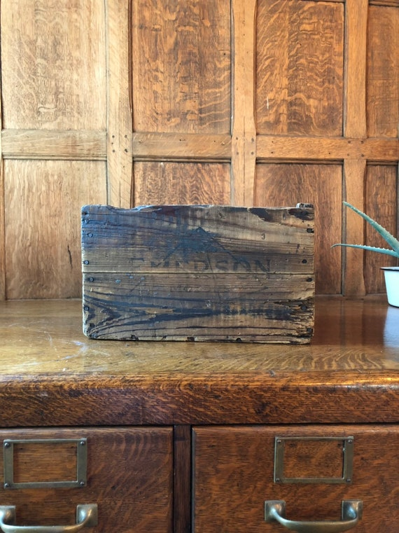 Small Rustic Wood Crate, Emerson Electric Shipping Crate, Vintage Wooden Crate, Wooden Box, Storage