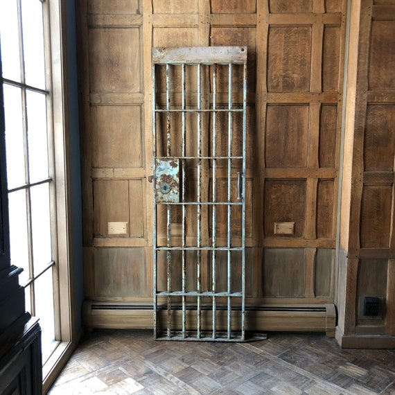 Antique Prison Cell Gate, Iron Gates, Jail Door, Industrial Wall Decor, Metal Garden Decor Gate, Sliding Door