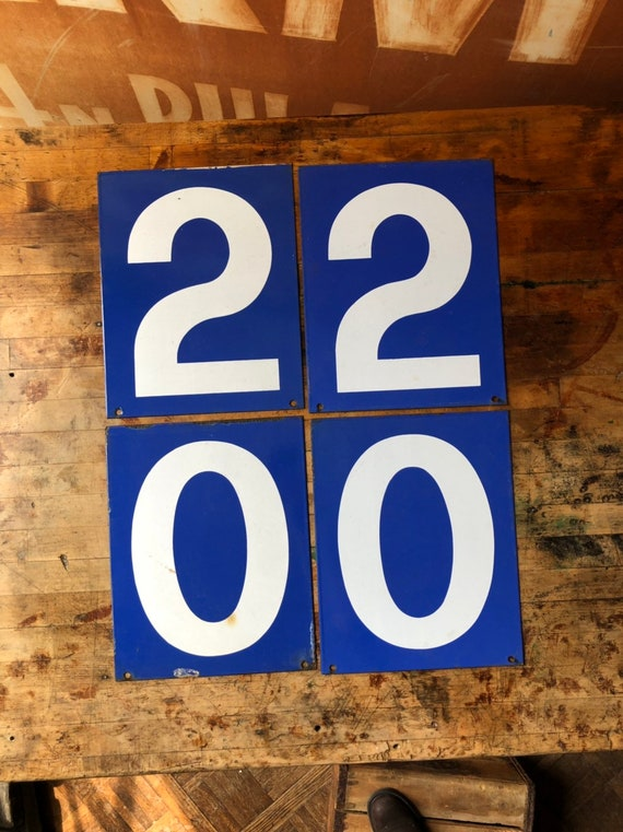Vintage Gas Station Number, Double Sided Blue And White Sign Number, Lucky Number 2, Lucky Number 0, Number Decor, Number Wall Decor